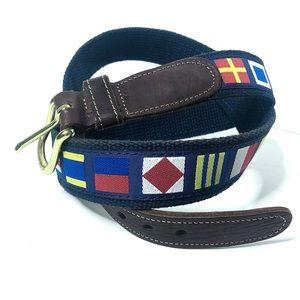 Vintage Preston Graphic Navy Blue Canvas Belt